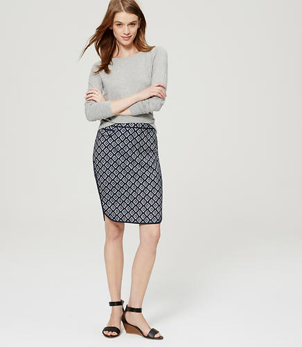 Image of Jacquard Shirttail Pencil Skirt