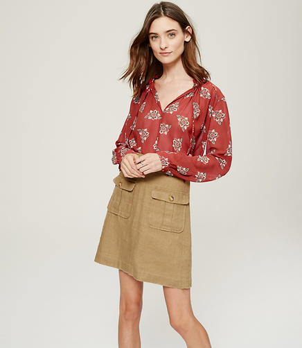 Image of Faraway Floral Ruffle Tie Neck Blouse