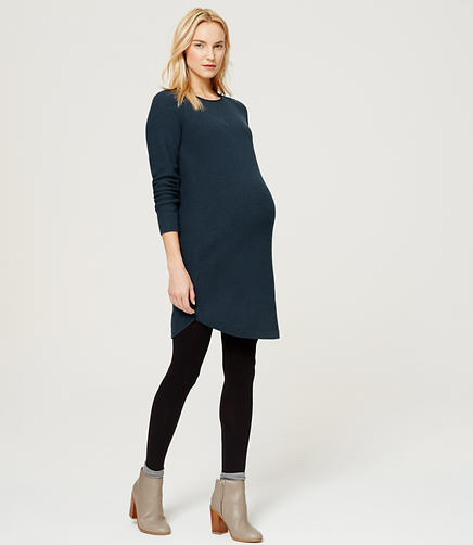Image of Maternity Faux Leather Trim Sweater Dress