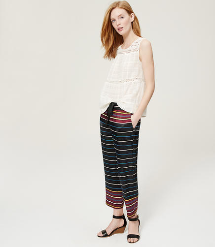 Image of Cropped Striped Fluid Pull On Pants