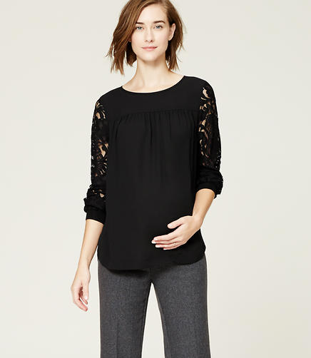 Image of Maternity Lace Sleeve Sweatshirt Blouse