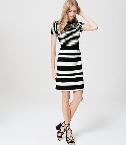 Image of Mixstripe Short Sleeve Dress