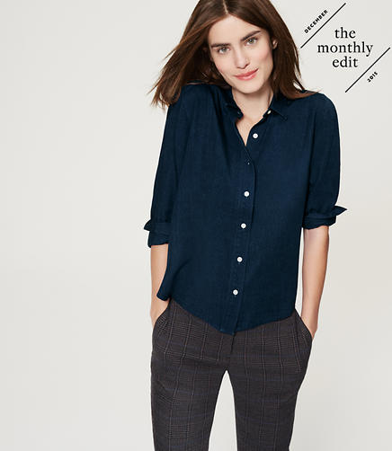 Image of Shirred Chambray Shirt