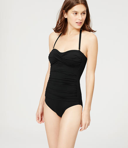 Image of LOFT Beach Twist Bandeau One Piece Swimsuit