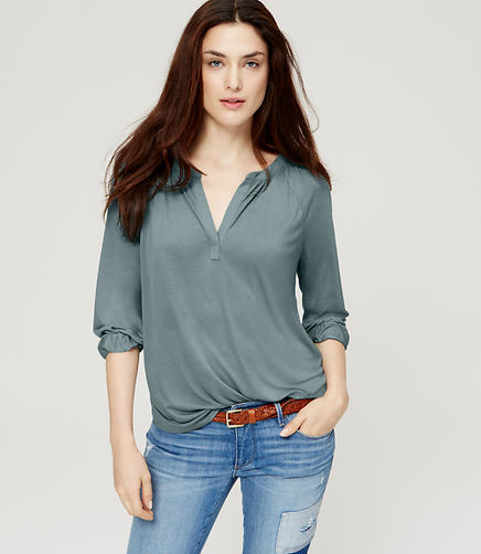 Image of Split Neck Peasant Top