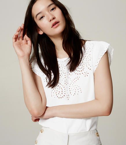 Image of Eyelet Flutter Top