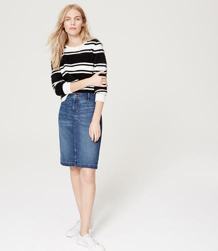 Image of Stretch Denim Pencil Skirt