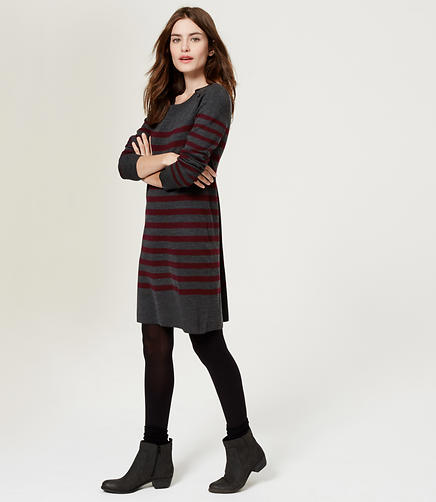Image of Striped Button Sweater Dress