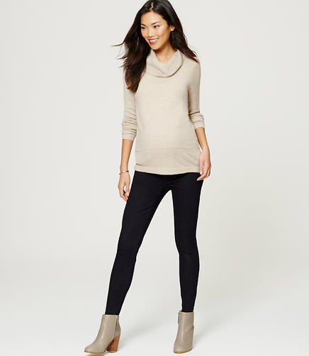 Image of Petite Maternity Denim Leggings in Dark Indigo Wash