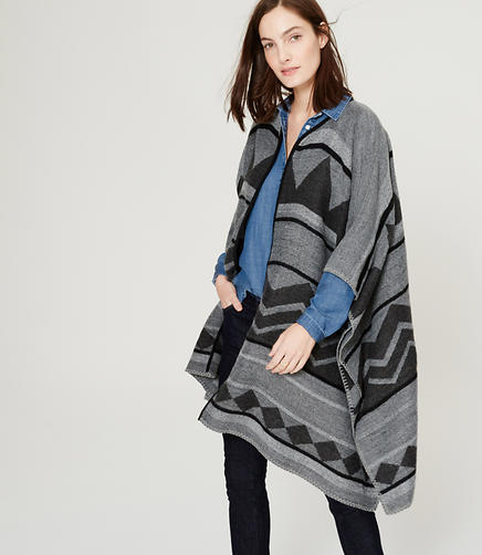 Image of Striped Geo Poncho