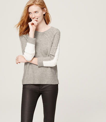 Image of Petite Linkblocked Cable Sweater