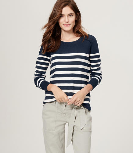 Image of Striped Shoulder Button Sweater