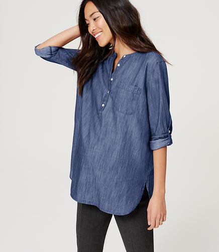 Image of Maternity Chambray Softened Shirt
