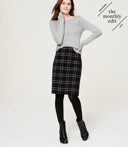 Image of Plaid Pencil Skirt