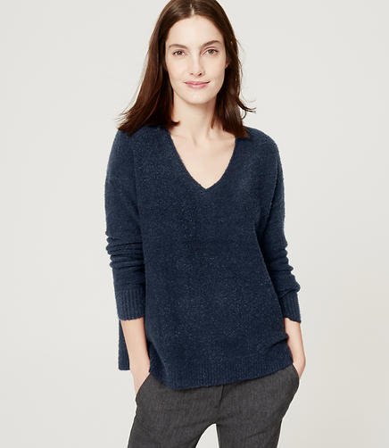 Image of Petite Relaxed V-Neck Sweater