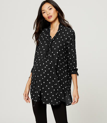 Image of Maternity Dizzy Dot Tie Neck Tunic Blouse