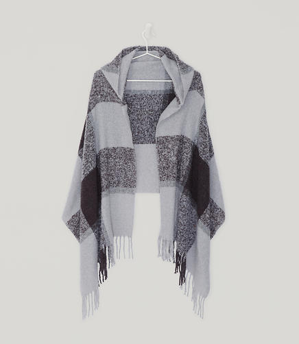 Image of Plaid Hooded Wrap