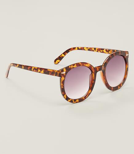 Image of Modern Tortoiseshell Print Round Sunglasses