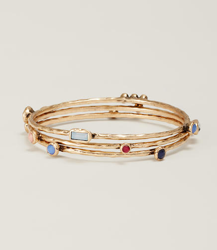 Image of Multicolored Gem Bangle Set