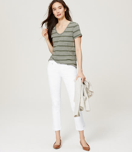 Image of Petite Modern Cropped Straight Leg Jeans in White