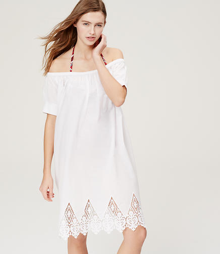 Image of LOFT Beach Lacy Off The Shoulder Dress