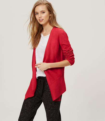 Image of Diagonal Ribbed Open Cardigan