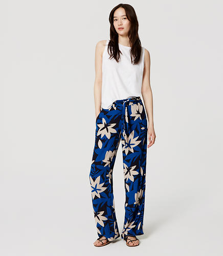 Image of Floral Fresco Tie Waist Pants