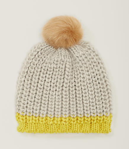 Image of Colorblock Pom Pom Hat