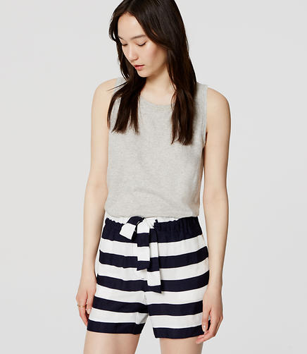 Image of Stripe Fluid Tie Waist Shorts with 5