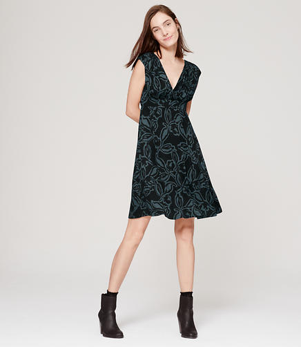 Image of Shirred V-Neck Dress