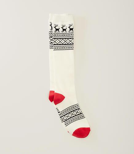 Image of Reindeer Fairisle Knee Socks
