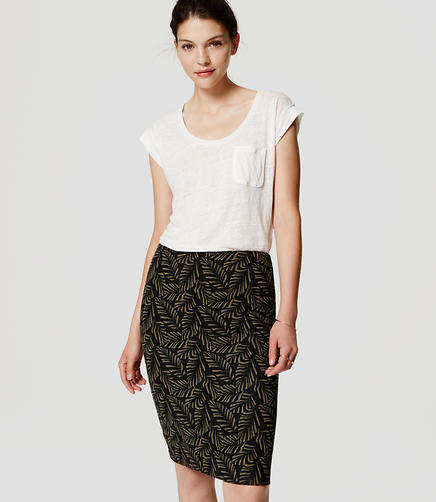 Image of Palm Pull On Pencil Skirt