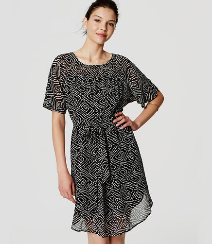 Image of Abstract Tie Waist Dress