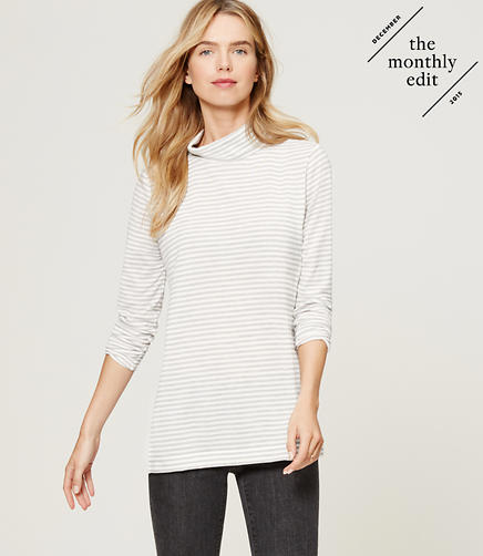 Image of Striped Knit Turtleneck Tunic