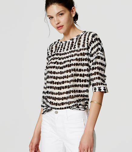 Image of Spot Stripe Drop Shoulder Blouse
