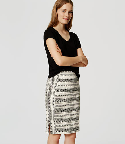 Image of Mosaic Stripe Pencil Skirt