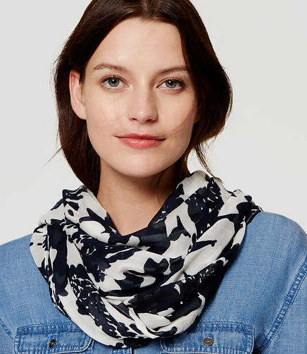 Image of Monochrome Floral Infinity Scarf