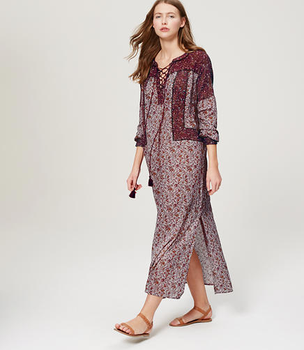 Image of Petite LOFT Beach Floral Lace Up Maxi Dress