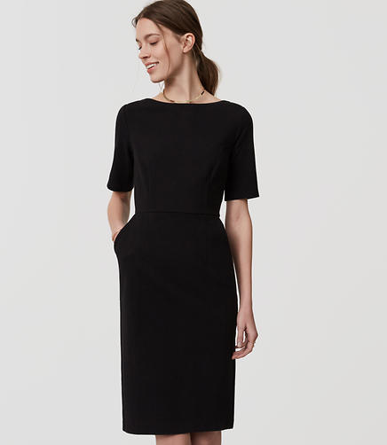 Image of Petite Short Sleeve Sheath Dress