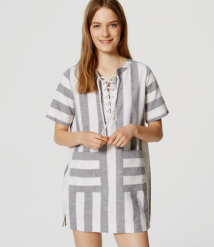 Image of LOFT Beach Striped Lace Up Dress
