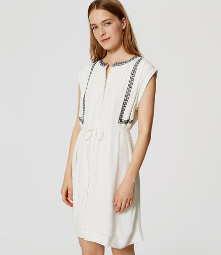 Image of Embroidered Tie Waist Shirtdress