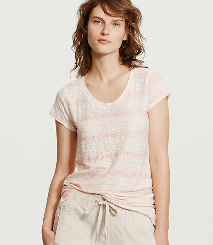 Image of Lou & Grey Striped Scoop Neck Linen Tee