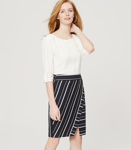 Image of Striped Wrap Pencil Skirt