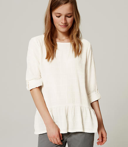 Image of Crinkle Peplum Blouse