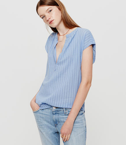 Image of Lou & Grey Shadow Stripe Splitneck Shirt