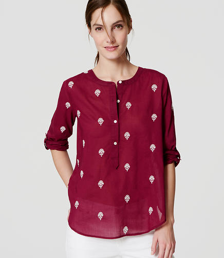 Image of Floral Embroidered Henley Softened Shirt