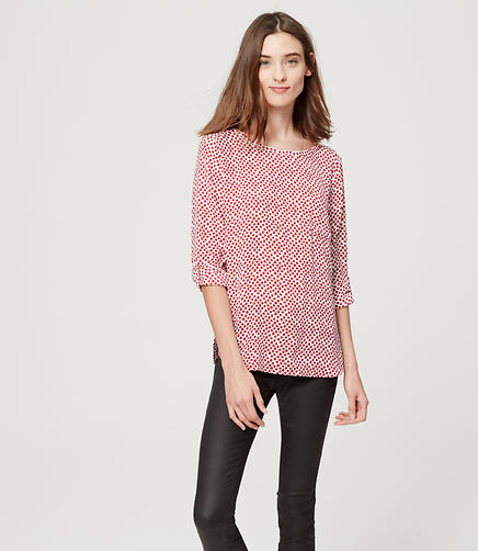 Image of Petite Spotted Pocket Blouse