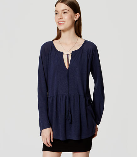 Image of Tasseled Keyhole Peplum Top