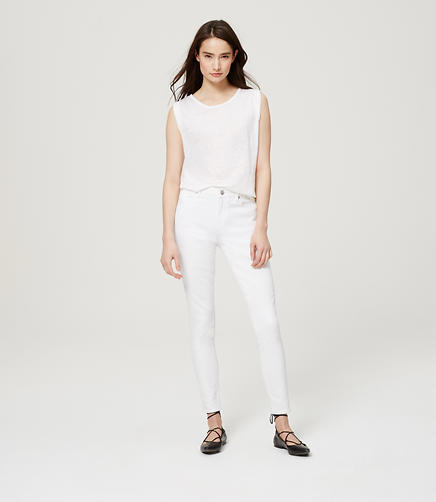 Image of Curvy High Waist Skinny Ankle Jeans in White