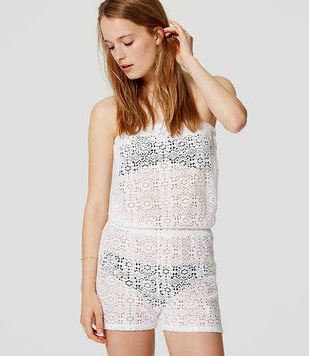 Image of LOFT Beach Strapless Lace Romper